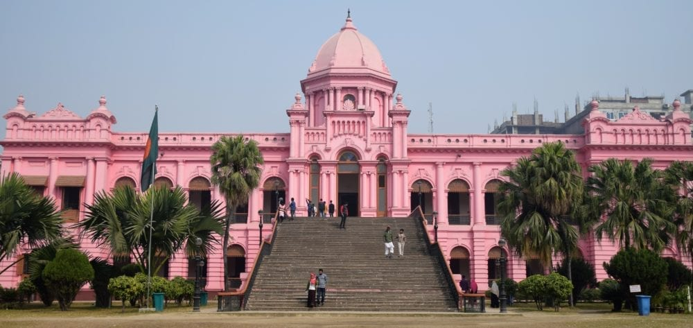 The pink Ahsan Manzil Palace building in Dhaka