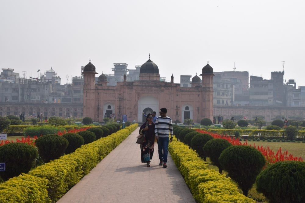 Lalbagh Fort from the front set back in the formal hedged gardens in Dhaka