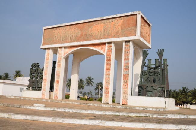 Memorial arch at the gate of no Return on the Slave Road, Benin