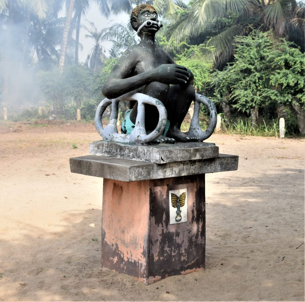 Statue of shackled slave on the Slave Road, Ouidah