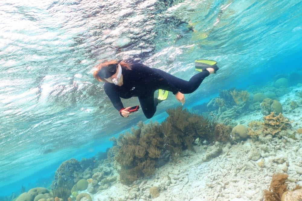 Sue snorkelling off Klein Bonaire