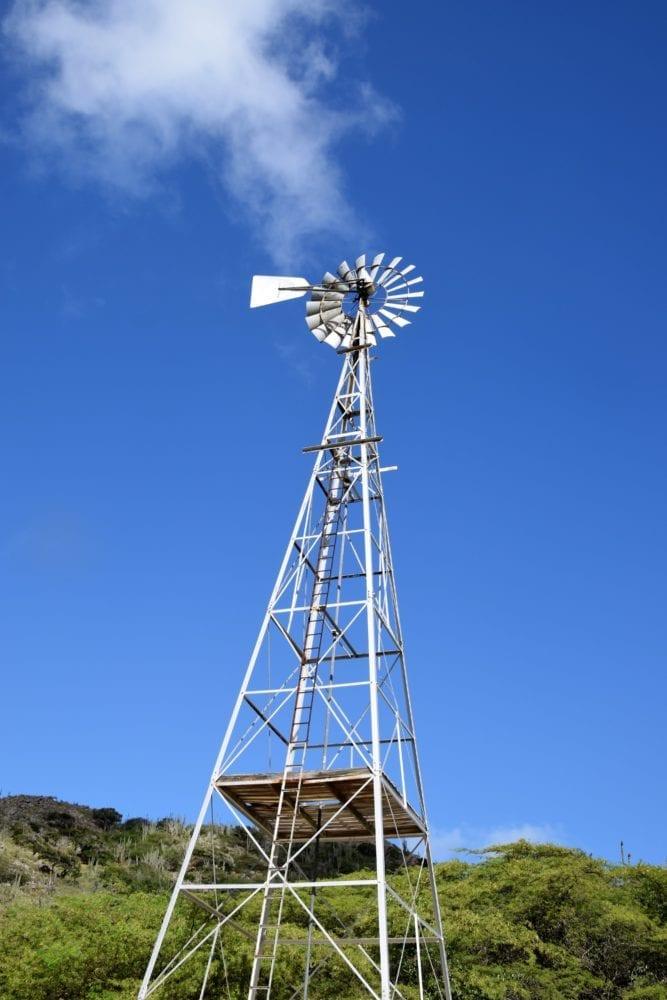 A tall metal windpump, Bonaire