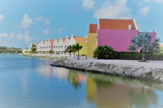 A hotel painted to look like colonial Dutch architecture, Bonaire