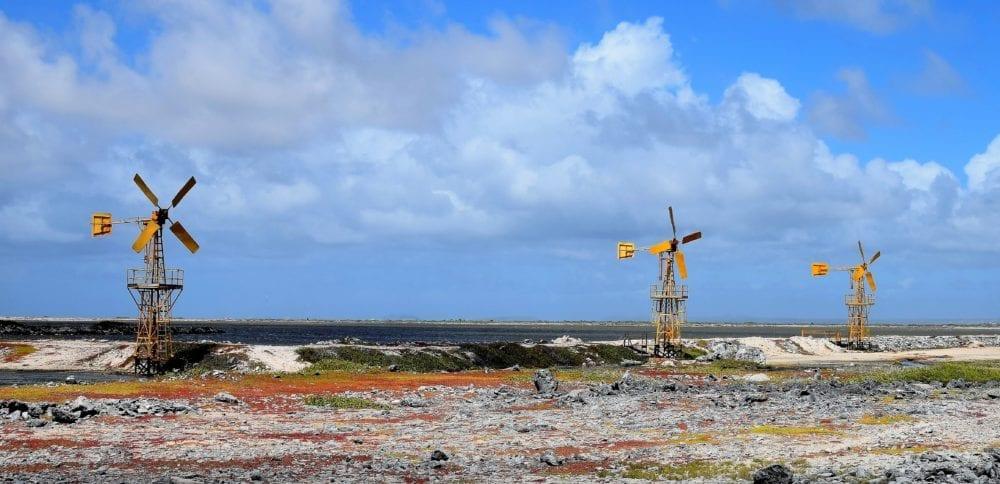 Windmills along the rocky coast in Bonaire