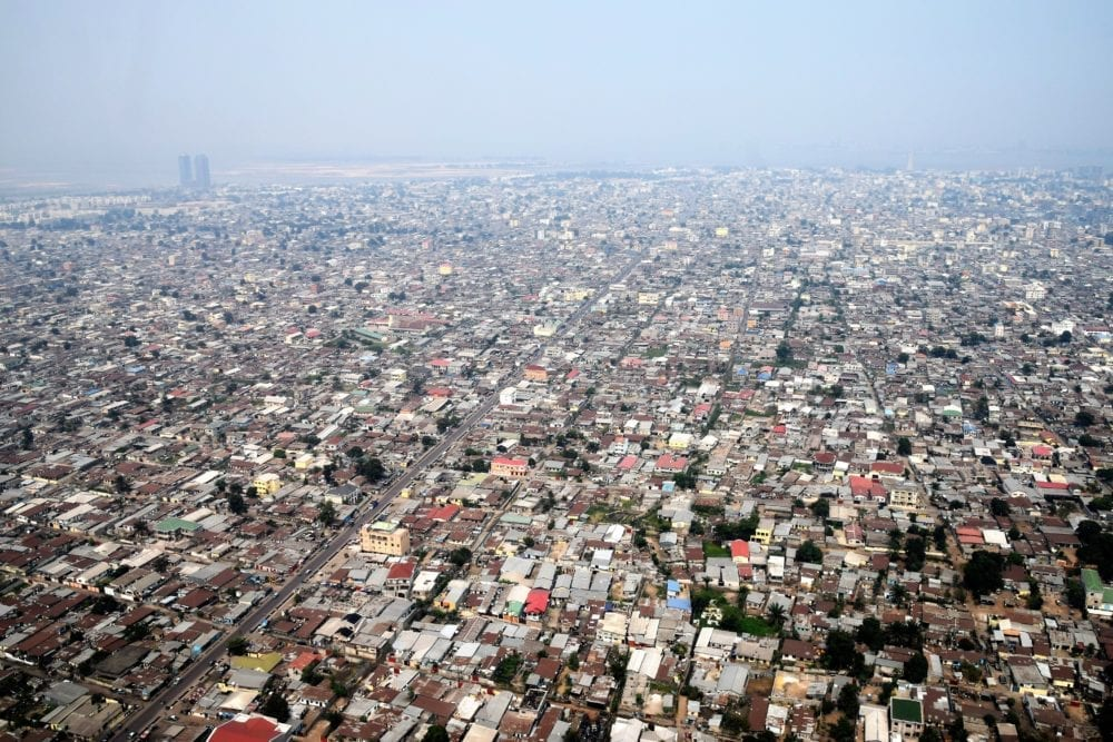 Brazzaville from the air- a sea of houses