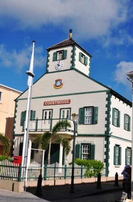 The wooden green and white courthouse at Philipsburg Sint Maarten