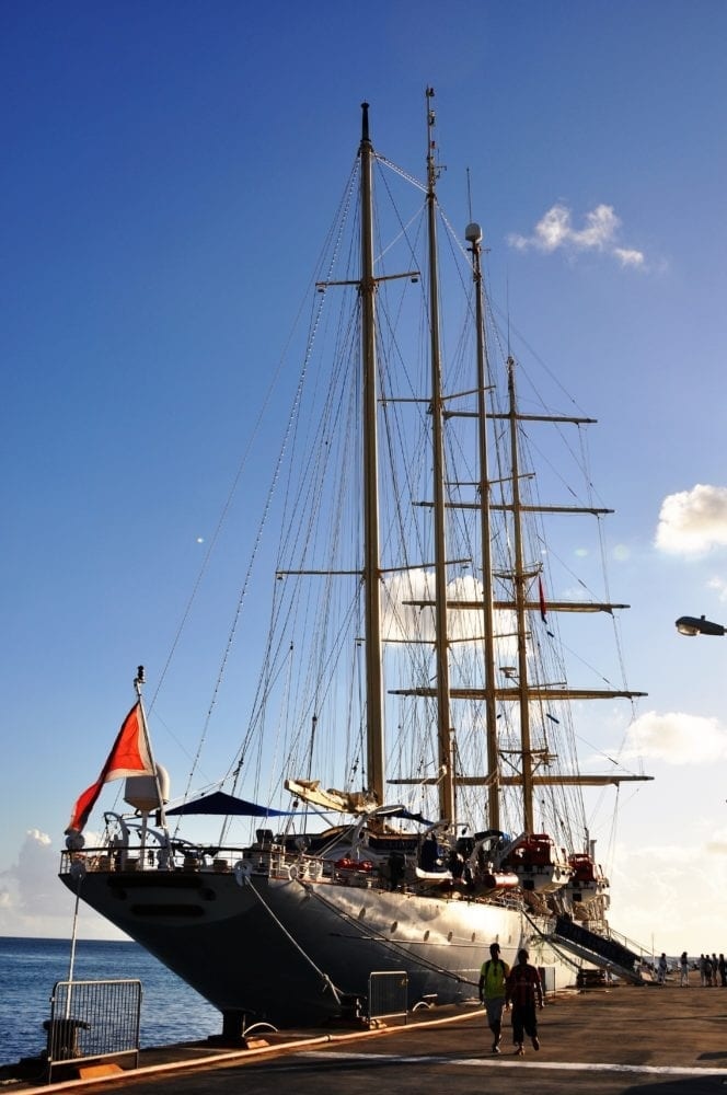 The Star Clipper moored at the dock in Sint Maarten