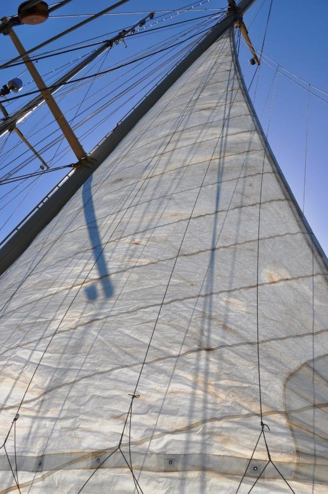 Raising a sail on the Star Clipper