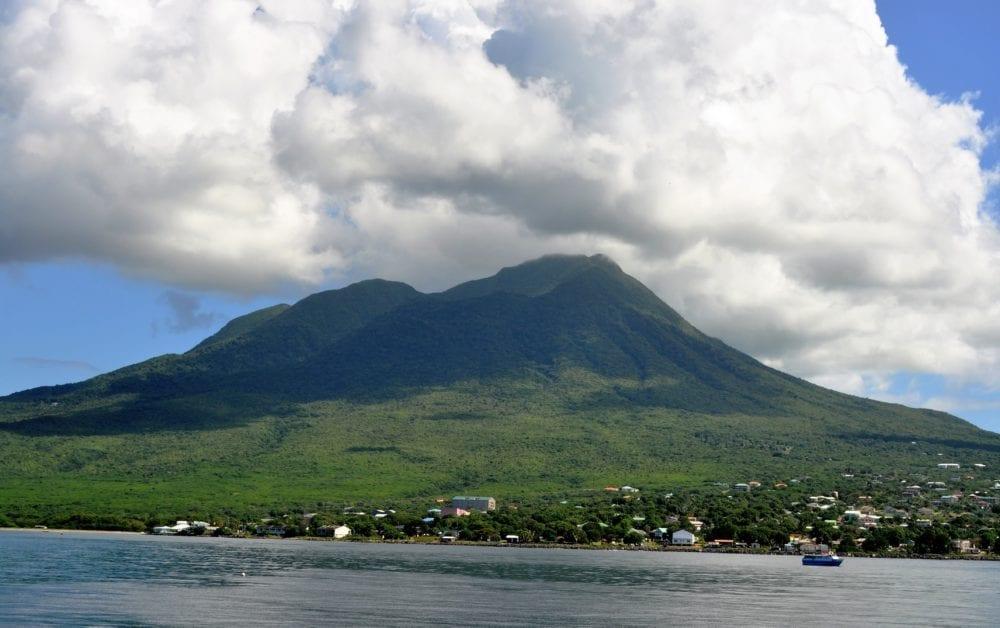 The peak of Nevis shrouded in cloud