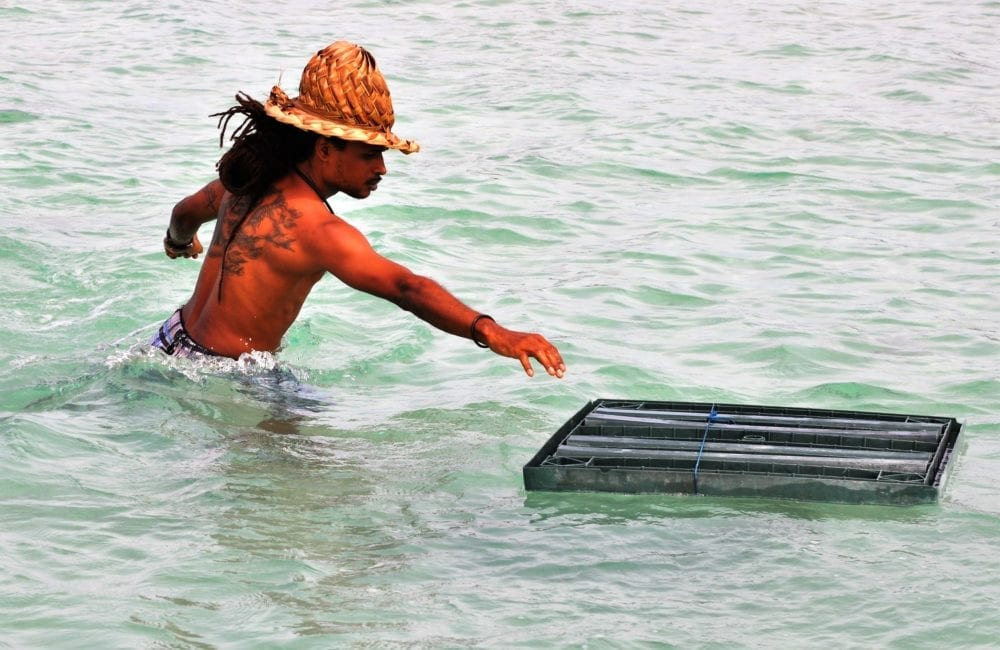 Our tattoed boat captain in woven palm hat loads the boat in Guadeloupe