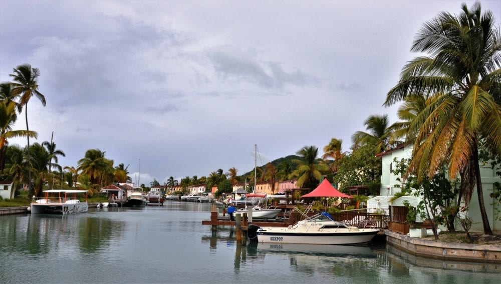 Boats moored up in the channels at Jolly Harbour Antigua