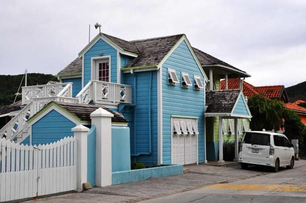 Bright painted houses at Jolly Harbour Antigua