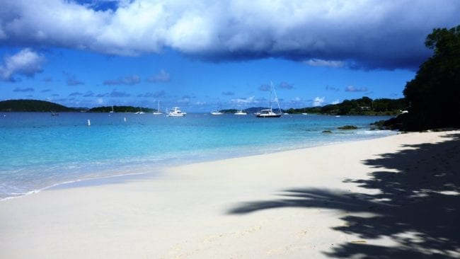 A white sand beach on the US Virgin islands
