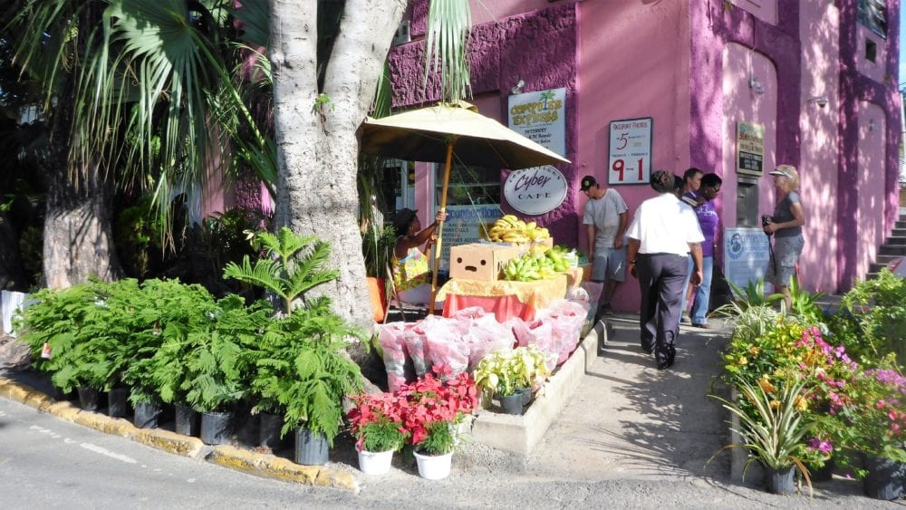 A colourful painted flower shop on St John
