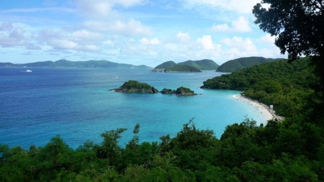 A panoramic view of Trunk Bay Beach and islands from above