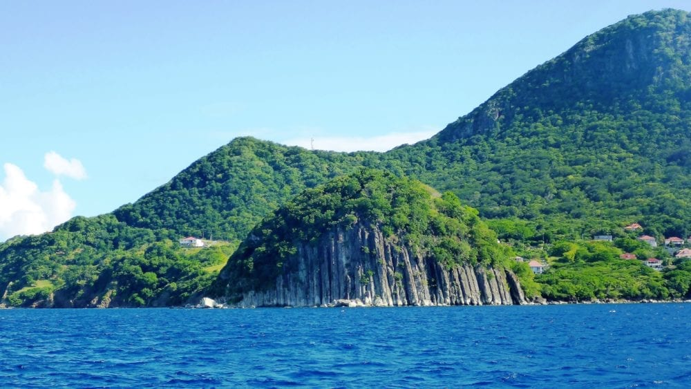 An islet made of basalt pillars in Guadeloupe