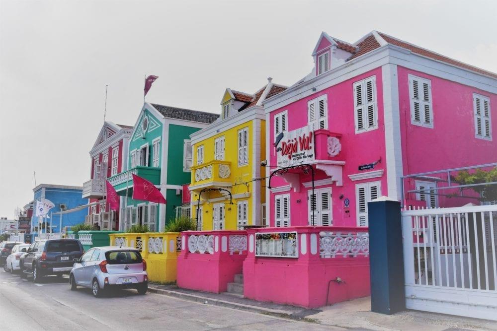 Gaily painted Dutch colonial houses in Pietermaai, Willemstad