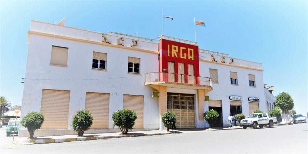 A red and white art deco building