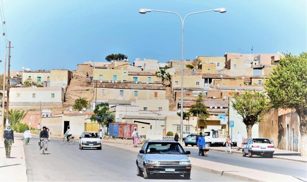 Terraces of houses behind the main road in Asmara