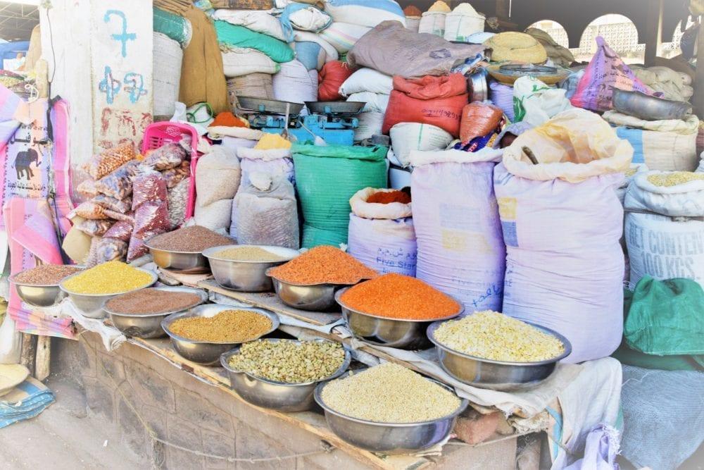 Sacks of grain and pulses in the market in Asmara Eritrea