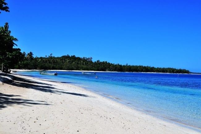 Deep blue seas off the beach at the Blue Lagoon, Yasawa Islands