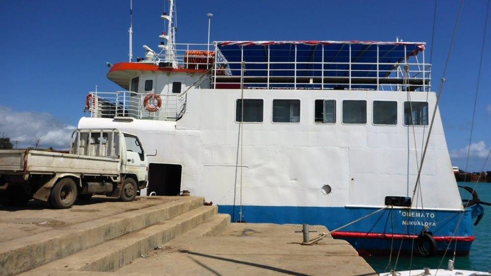The island ferry moored at the dock in Nuku'alofa