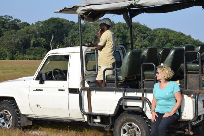 Sue with the safari vehicle in Loango