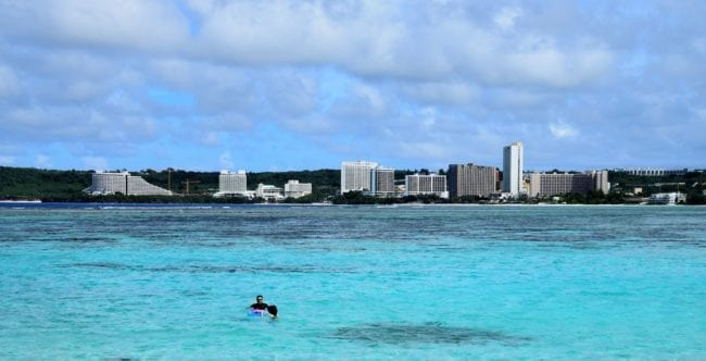 A view across Tumon Bay, Guam, lined with hotels