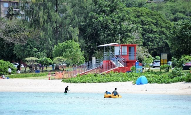 Sandy beach and lifeguard station, Tumon Bay