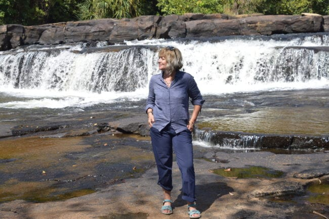 Sue at one of the Kambadaga Waterfalls