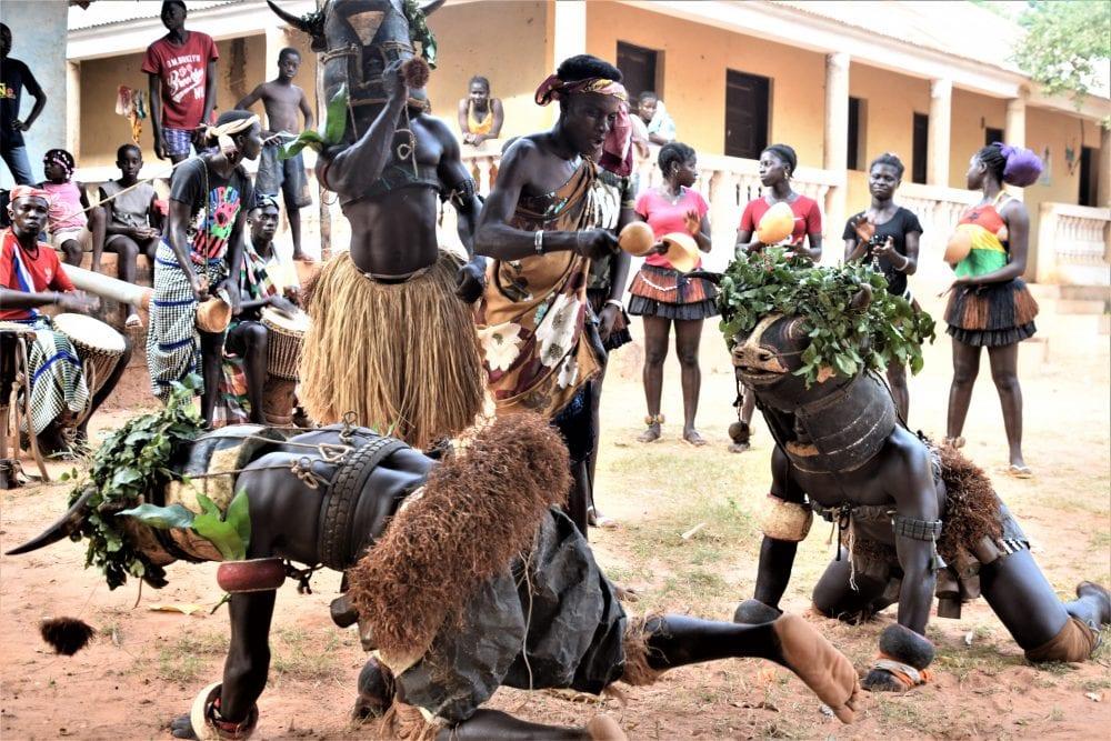 Masked dancers, instrumentalists behind in Bubaque Bijagos Islands