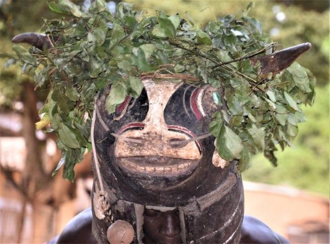 Headshot of a horned masked dancer, in Bubaque Bijagos Islands