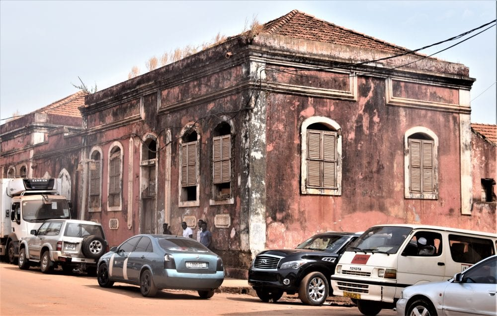 A dilapidated building in Bissau
