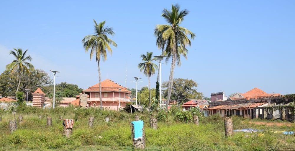 A panoramic view of pink houses at Bafeta, Guinea-Bissau