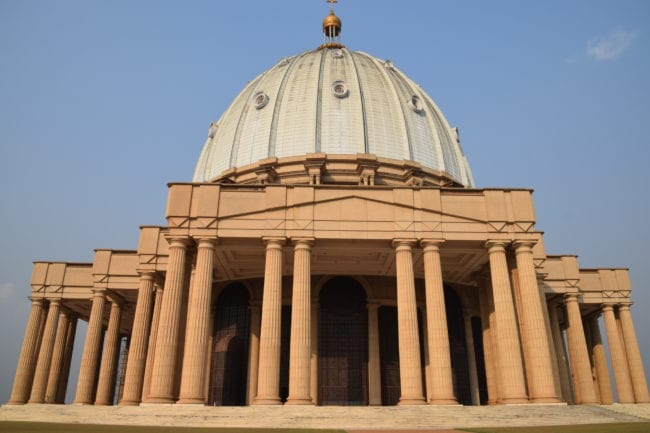 A front view of the dome and the basilica at Our Lady of Peace of Yamoussoukro