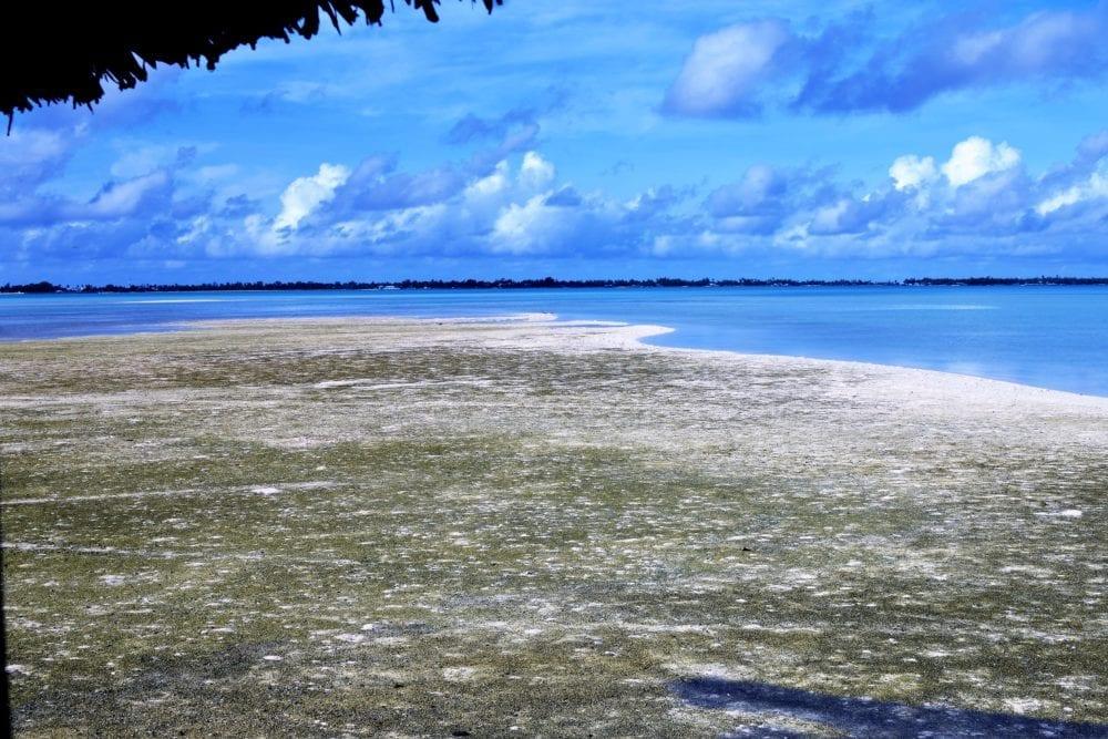 A sand bar in the lagoon at the North Tarawa atoll, Kiribati
