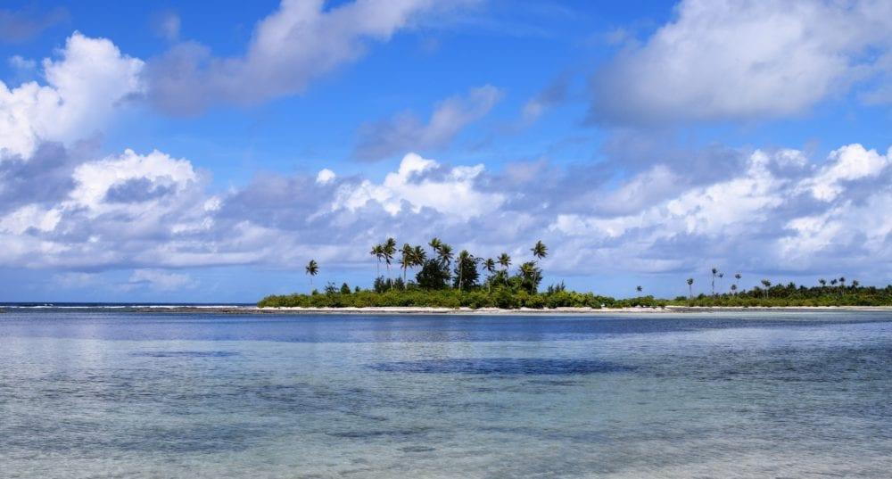 Motus in the lagoon at the North Tarawa atoll, Kiribati
