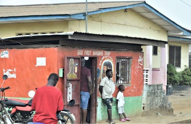 A barber's shop in Monrovia Liberia