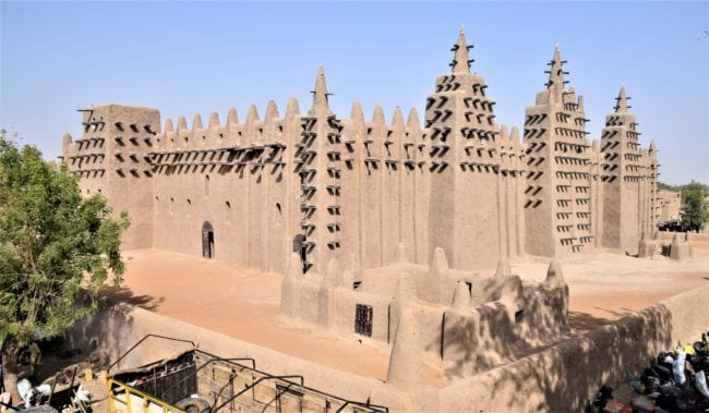 Corner view from the roof tops of the mud mosque at Djenne