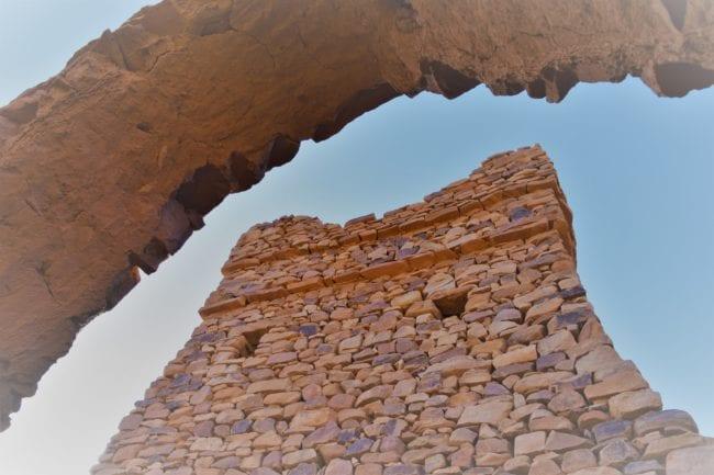 The tower at Oudane viewed through an arch
