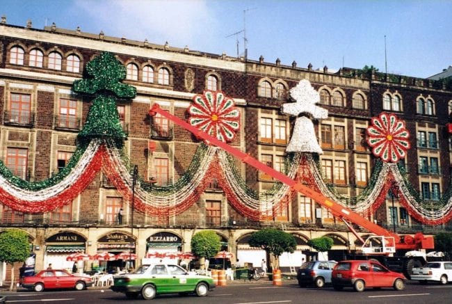 Christmas decorations looping across buildings in the Zocalo, Mexico City