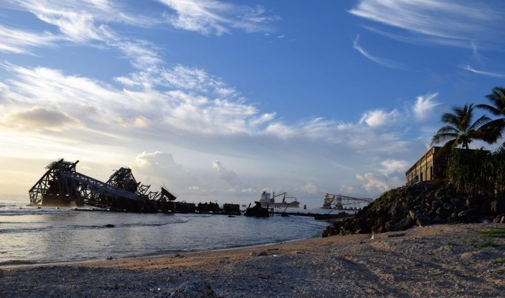 Old mine conveyor belt at Nauru collapsed in to the sea