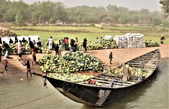 Unloading gourds from a boat by the River Niger