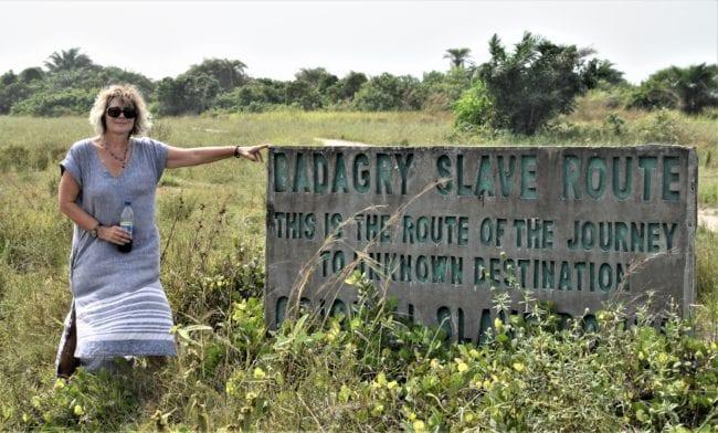 Sue on the Badagry Slave Route, Gberefu Island, Nigeria