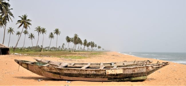 Canoes on the beach at the slave port, Gberefu Island, Nigeria