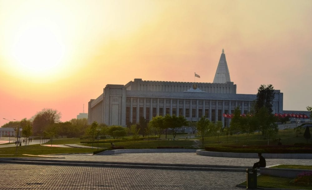 Sunset over a central square in Pyongyang North Korea