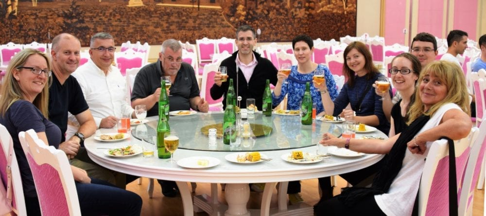 The tour group at dinner in the Yanggakdo International Hotel dining room in Pyongyang