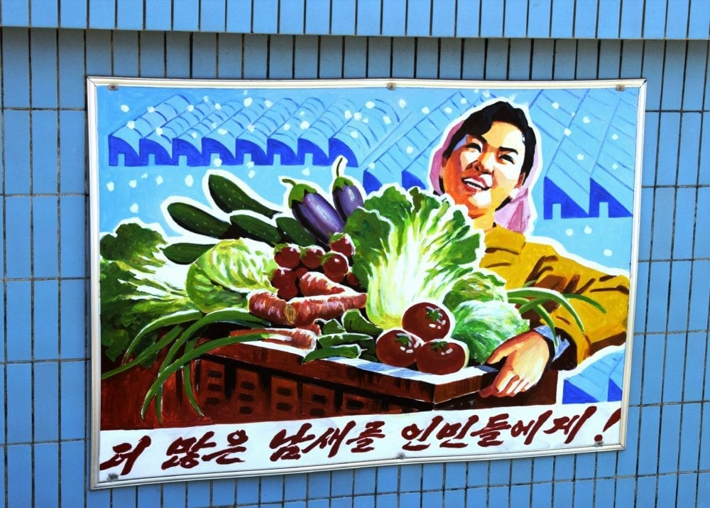 A propaganda poster in North Korea- a woman carries a box of vegetables