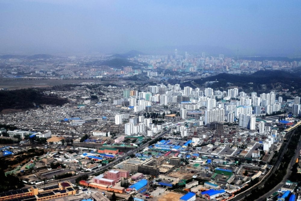 A panoramic view of Pyongyang from the helicopter