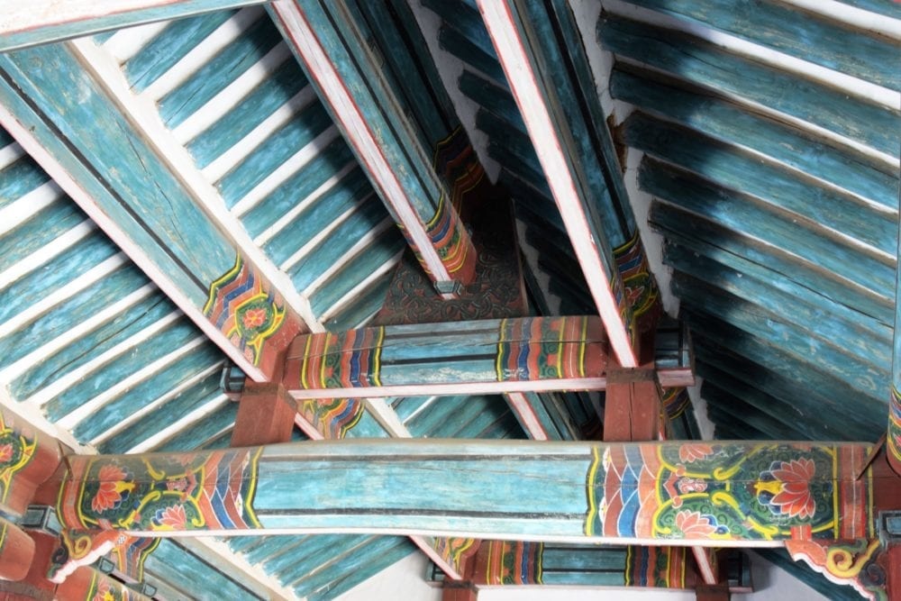 Painted wooden roof at the Koryo Museum in Kaesong, North Korea